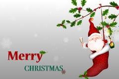 Feliz Navidad Vector a Santa Claus sonriente feliz que lleva a cabo una muestra en blanco ilustración del vector