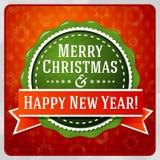 Feliz Navidad verde del vintage y feliz estilizados Foto de archivo