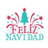 Feliz Navidad - Vrolijke Kerstmis Spaanse taal Stock Afbeeldingen