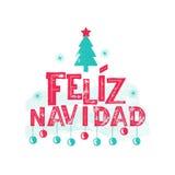 Feliz Navidad - Vrolijke Kerstmis Spaanse taal Royalty-vrije Stock Fotografie