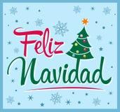 Feliz Navidad - Vrolijke Kerstmis Spaanse tekst Royalty-vrije Stock Afbeelding