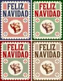 Feliz Navidad, Vrolijke Kerstmis Spaanse tekst, Uitstekende Retro kaart, Vectorinzamelingsreeks vector illustratie