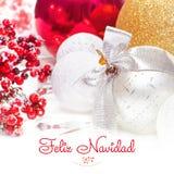 Feliz Navidad Weihnachts- und des neuen Jahreshintergrund 2017 Lizenzfreie Stockbilder