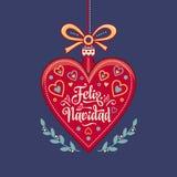 Feliz Navidad Weihnachtskarte auf spanischer Sprache Wärmen Sie Wünsche für frohe Feiertage Lizenzfreies Stockbild