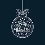 Feliz Navidad Weihnachtskarte auf spanischer Sprache Wärmen Sie Wünsche für frohe Feiertage Stockfotografie