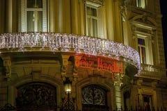 Feliz Navidad - Weihnachtszeichen gemacht von den Lichtern Stockfotos