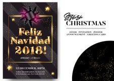 Feliz Navidad 2018 Wesoło bożych narodzeń w hiszpańszczyznach Obrazy Stock