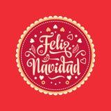 Feliz Navidad xmas вектора иллюстрации карточки Испанский язык Стоковые Фото