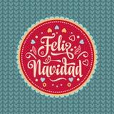 Feliz Navidad xmas вектора иллюстрации карточки Испанский язык Стоковые Изображения