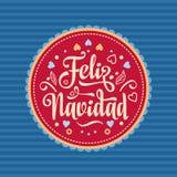 Feliz Navidad xmas вектора иллюстрации карточки Испанский язык Стоковая Фотография RF