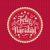 Feliz Navidad xmas вектора иллюстрации карточки Испанский язык Стоковое Изображение