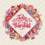 Feliz navidad. Xmas card on Spanish language. Christmas decorations for invitations and greeting cards. Winter toy. Feliz navidad. Xmas card on Spanish language Royalty Free Stock Photo