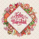 Feliz navidad. Xmas card on Spanish language. Christmas decorations for invitations and greeting cards. Winter toy. Feliz navidad. Xmas card on Spanish language Stock Photo