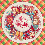 Feliz navidad. Xmas card on Spanish language. Christmas decorations for invitations and greeting cards. Winter toy. Feliz navidad. Xmas card on Spanish language Stock Images