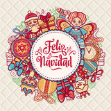 Feliz navidad. Xmas card on Spanish language. Christmas decorations for invitations and greeting cards. Winter toy. Feliz navidad. Xmas card on Spanish language Stock Photos