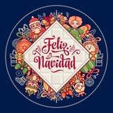 Feliz navidad. Xmas card on Spanish language. Stock Photography