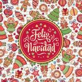 Feliz navidad. Xmas card on Spanish language. Christmas decorations for invitations and greeting cards. Winter toy. Feliz navidad. Xmas card on Spanish language Stock Images