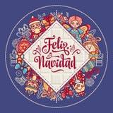 Feliz navidad. Xmas card on Spanish language. Christmas decorations for invitations and greeting cards. Winter toy. Feliz navidad. Xmas card on Spanish language Royalty Free Stock Image