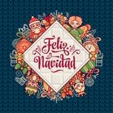 Feliz navidad. Xmas card on Spanish language. Christmas decorations for invitations and greeting cards. Winter toy. Feliz navidad. Xmas card on Spanish language Royalty Free Stock Images