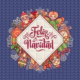 Feliz navidad. Xmas card on Spanish language. Christmas decorations for invitations and greeting cards. Winter toy. Feliz navidad. Xmas card on Spanish language Stock Photos