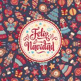 Feliz navidad. Xmas card on Spanish language. Christmas decorations for invitations and greeting cards. Winter toy. Feliz navidad. Xmas card on Spanish language Stock Photography