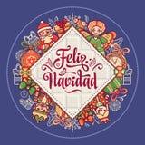 Feliz navidad. Xmas card on Spanish language. Christmas decorations for invitations and greeting cards. Winter toy. Feliz navidad. Xmas card on Spanish language Royalty Free Stock Photography