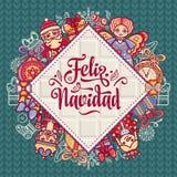 Feliz navidad. Xmas card on Spanish language. Christmas decorations for invitations and greeting cards. Winter toy. Feliz navidad. Xmas card on Spanish language Royalty Free Stock Photos