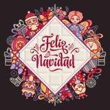 Feliz navidad. Xmas card on Spanish language. Christmas decorations for invitations and greeting cards. Winter toy. Feliz navidad. Xmas card on Spanish language Stock Photo