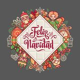 Feliz navidad. Xmas card on Spanish language. Stock Photos