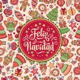 Feliz navidad. Xmas card on Spanish language. Royalty Free Stock Photography