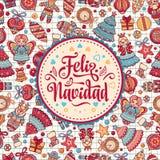 Feliz navidad. Xmas card on Spanish language. Royalty Free Stock Photo