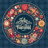 Feliz navidad. Xmas card on Spanish language. Warm wishes for happy holidays. In Spain. English translation: Merry Christmas Royalty Free Stock Image