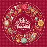 Feliz navidad. Xmas card on Spanish language. Warm wishes for happy holidays Royalty Free Stock Image