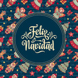 Feliz navidad. Xmas card on Spanish language. Warm wishes for happy holidays Stock Images