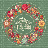 Feliz navidad. Xmas card on Spanish language. Warm wishes for happy holidays Royalty Free Stock Photos