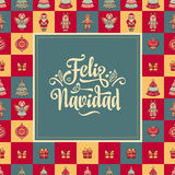 Feliz navidad. Xmas card on Spanish language. Warm wishes for happy holidays Royalty Free Stock Images