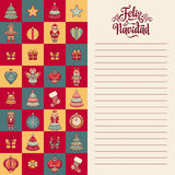 Feliz navidad. Xmas card on Spanish language. Warm wishes for happy holidays Stock Image