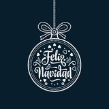 Feliz navidad. Xmas card on Spanish language. Warm wishes for happy holidays. In Spain. English translation: Merry Christmas Stock Photography