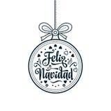 Feliz navidad. Xmas card on Spanish language. Warm wishes for happy holidays Royalty Free Stock Image