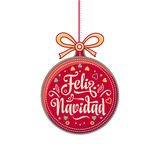 Feliz navidad. Xmas card on Spanish language. Warm wishes for happy holidays Stock Photos