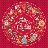 Feliz navidad. Xmas card on Spanish language. Warm wishes for happy holidays. In Spain. English translation: Merry Christmas Royalty Free Stock Photo