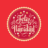 Feliz navidad. Xmas card. Spanish language. Feliz navidad. Xmas card on Spanish language. Warm wishes for happy holidays in Spain. English translation: Merry Stock Photos