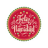 Feliz navidad. Xmas card. Spanish language. Feliz navidad. Xmas card on Spanish language. Warm wishes for happy holidays in Spain. English translation: Merry Stock Photo
