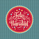 Feliz navidad. Xmas card. Spanish language. Feliz navidad. Xmas card on Spanish language. Warm wishes for happy holidays in Spain. English translation: Merry Stock Images