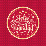 Feliz navidad. Xmas card. Spanish language. Feliz navidad. Xmas card on Spanish language. Warm wishes for happy holidays in Spain. English translation: Merry Stock Image
