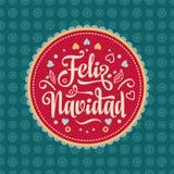 Feliz navidad. Xmas card. Spanish language. Feliz navidad. Xmas card on Spanish language. Warm wishes for happy holidays in Spain. English translation: Merry Stock Photos