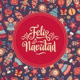 Feliz navidad. Xmas card on Spanish language. Warm wishes for happy holidays in Spain. English translation: Merry Christmas Royalty Free Stock Photo