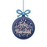 Feliz navidad. Xmas card on Spanish language. Warm wishes for happy holidays in Spain. English translation: Merry Christmas Stock Image