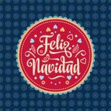 Feliz navidad. Xmas card. Spanish language. Feliz navidad. Xmas card on Spanish language. Warm wishes for happy holidays in Spain. English translation: Merry Stock Photography