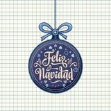 Feliz navidad. Xmas card on Spanish language. Warm wishes for happy holidays in Spain. English translation: Merry Christmas Royalty Free Stock Photography